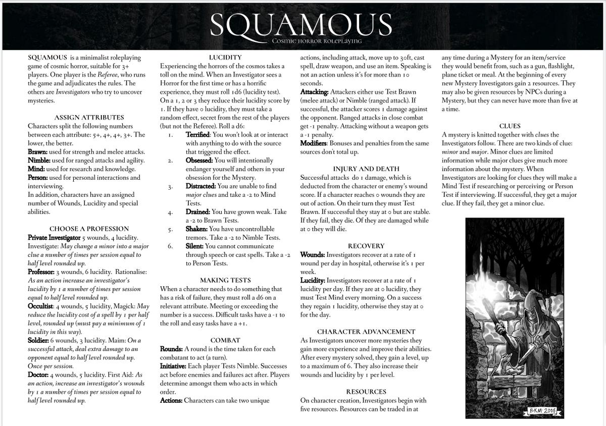 Die erste Seite des cthuloiden, regelleichen Rollenspiels Squamous